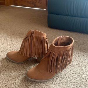 Fringe heeled ankle boots